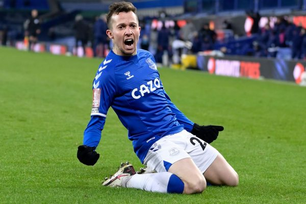 Everton reached the top of the table after scoring three goals